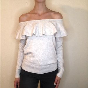 Banana republic off the shoulder ruffle sweater
